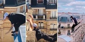 İzlerken Düştüm: Yüksek Binaların Çatılarında Parkur Sporu Yapan Gencin Ölüme Meydan Okuduğu Anlar