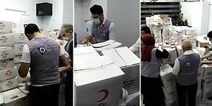 Kızılay'ın Yardım Kolileri Açılıp İçindeki Malzemelerin Suriyeli Derneğin Kolilerine Yerleştirildiği İddia Edilen Görüntüler