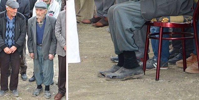 Baba Recep Gökçe ise oğlunun cenaze töreninde giydiği yırtık kara lastik ayakkabılarıyla yürekleri burkmuştu.