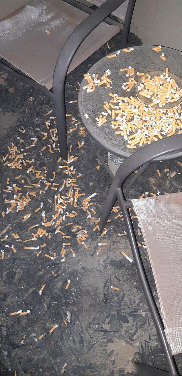 """8. """"Ev arkadaşlarım sigara içilme alanını böyle bırakmış"""""""