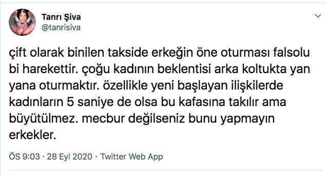 """Twitter'daki Tanrı Şiva isimli kullanıcı, çift olarak binilen takside erkeğin öne oturmasını """"falsolu"""" bir hareket olarak değerlendirdi."""