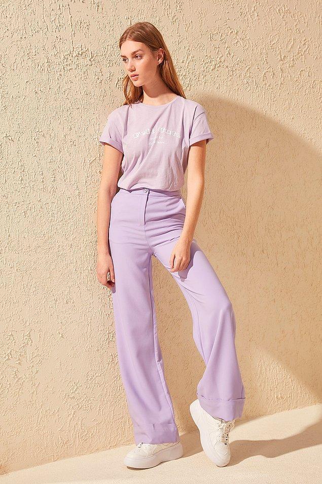 8. Sonbahar diye kasvetli renkler giymek zorunda değiliz, katılıyorsanız bu lila rengine pantolona bakmadan geçmeyin. Şu anda indirimde!