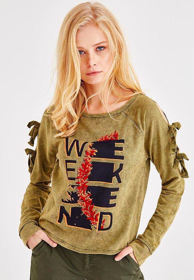 5. Oxxo marka sweatshirt omuz detayı sevenler için. İndirimi yok, fiyatı ise 59 TL!