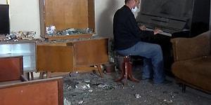 Gence'ye Düzenlenen Saldırı Sonucunda Evi Harabeye Dönen Adam Evinde Piyano ile 'Sarı Gelin' Çaldı