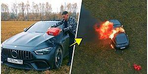 Son Model Mercedes'ini Sürekli Arızalandığı Gerekçesiyle Benzin Döküp Yakan Sosyal Medya Fenomeni