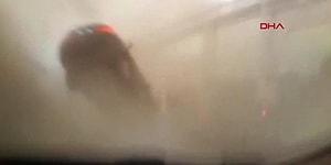 Yangın Sırasında Oluşan Hortum Arabasını Havaya Fırlattı: Sürücünün Beli Kırıldı