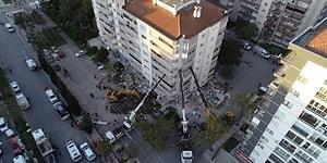 Depremde İlk 3 Katı Çöken ve Yan Yatan Bina Vinçlerle Ayakta Tutuluyor