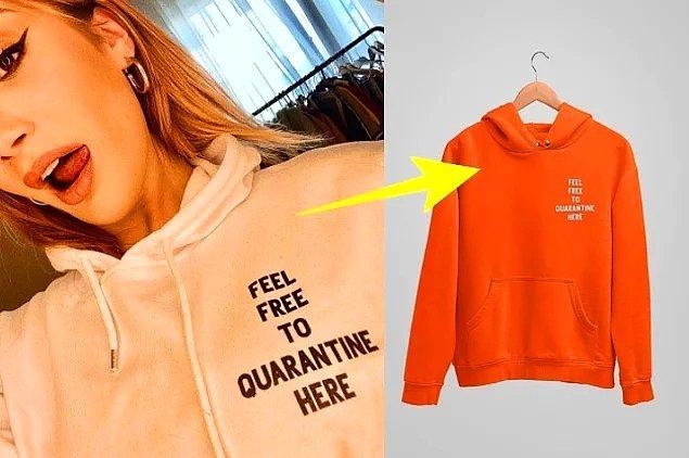 5. İrem Derici'ye çok yakışan bu sweatshirt'ün turuncusunu sen de jeanlerinin üzerine giyebilirsin.