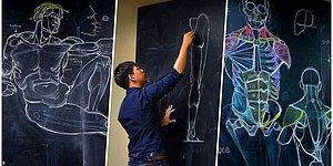 Taylandlı Öğretmenin Tahtaya Yaptığı Anatomi Çizimleri Sosyal Medyada Gören Herkesi Büyüledi