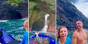İçinde Şelale Akan Dünyanın En Uzu Deniz Mağaralarından Birinin İçinden Bot ile Geçen Ekibin Kaydettiği Muhteşem Görüntüler