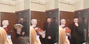 Kız İstemeye Gittiği Eve Girerken, Çiçeği Müstakbel Eşinin Eline Öylece Bırakan Damadın Tepki Çeken Görüntüleri