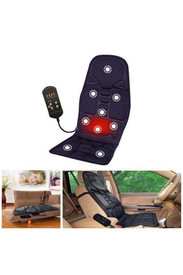 8. Aracınıza takabileceğiniz ısıtma özelliği de bulunan bu masaj koltuğu uygun fiyatıyla dikkat çekiyor.