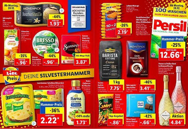 Birçok ürünün yer aldığı bu sayfada da dikkatimi deterjanın 12.66 Euro olması çekti. Bunun yanında kahve de 3.41 Euro.