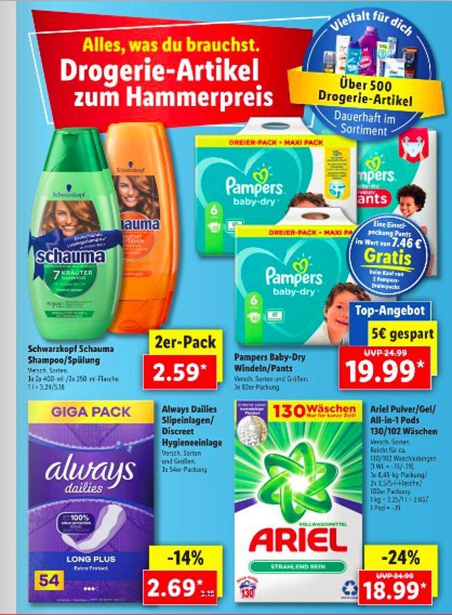Kişisel bakım ürünleri de bi' hayli ucuz. Mesela günlük ped 2.69 Euro ve 2 adet şampuan da 2.50 Euro. Bebek bezi de 19.99 Euro. Anne ve babalar yasta şu an.