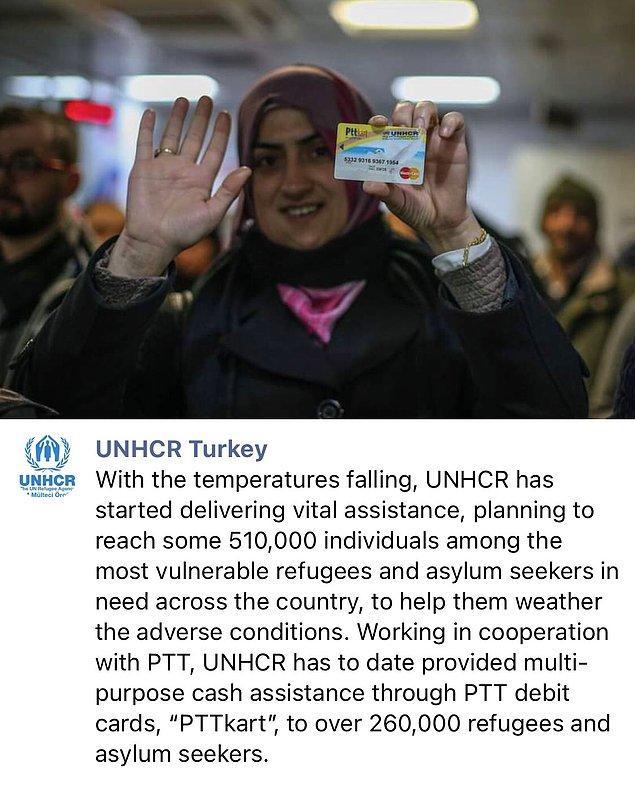 """PTT ile işbirliği içinde çalışan UNHCR, 2016 yılında beri mülteci ve sığınmacıya """"PTTkart"""" ile çok amaçlı nakit yardımı sağladı, sağlamaya da devam ediyor."""