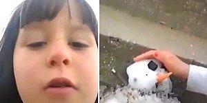 İlk Kez Kar Gören Ufaklığın Minik Kardan Adam Yaparak Yaşadığı Muhteşem Sevinç Anları