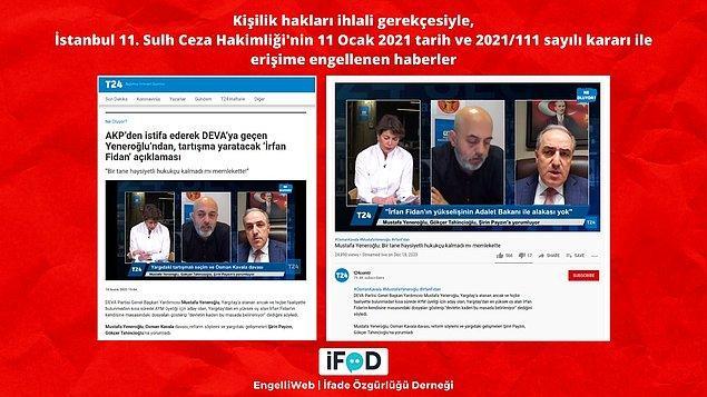 DEVA Partisi Genel Başkan Yardımcısı Mustafa Yeneroğlu'nun AYM üyeliğine seçilen İrfan Fidan ile ilgili yaptığı açıklamaların yer aldığı haber ve YouTube videosu erişime engellendi.