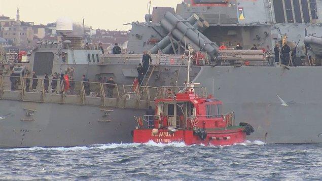 Yaklaşık 1,5 saatte boğaz geçişini tamamlayan gemi, Marmara Denizine açıldı.