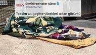 DHA'nın Paylaşımı Tepkilerin Odağında! 'Yürek Isıtan Görüntü' Sokakta Uyumak mı?