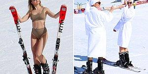 Rus Turistler, Palandöken'de Bornozla Kayak Yapıp Bikini ile Poz Verdiler
