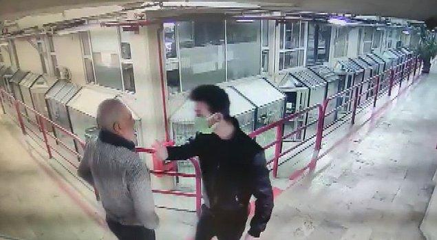 İkili arasında yaşananlar güvenlik kamerasına yansıdı.