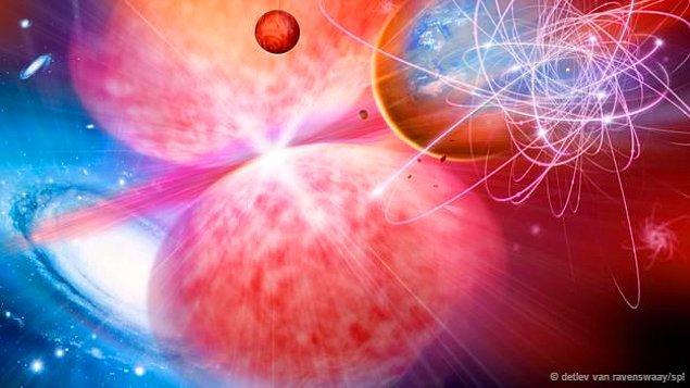 Ve yıldızlar da birleşir ve çarpışırlar. Sıcaklık artar, uzay giderek daralır ve her şey küçücük bir alanda sıkışana kadar Evren'in boyutu küçülür.