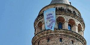 Galata Kulesi'nde İstanbul Sözleşmesi Pankartı