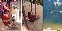 Zipline Yapmak İsterken Ağırlığı Nedeniyle Zor Anlar Yaşayan Adam
