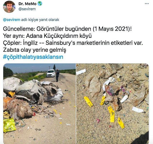 """Twitter'dan """"@sevirem"""" isimli kullanıcı Adana'ya ithal çöpleri bırakmaya devam ettiklerini söyledi bu paylaşımıyla. Etiketler de İngiltere'den"""