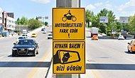 Ankara'da Motosiklet Sürücüleri İçin Farkındalık Levhaları: 'Aynaya Bakın, Bizi Görün'