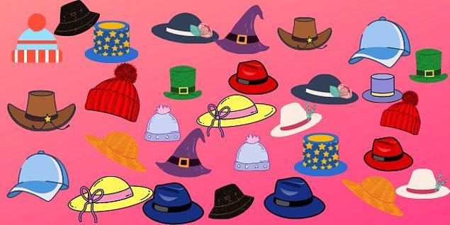 2. Çifti olmayan şapka hangisi?