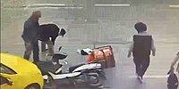 Trafik Kazasında Olay Yerine Gelip Motosikletli Kuryenin Telefonunu Çalan Kişi Kameralara Yakalandı