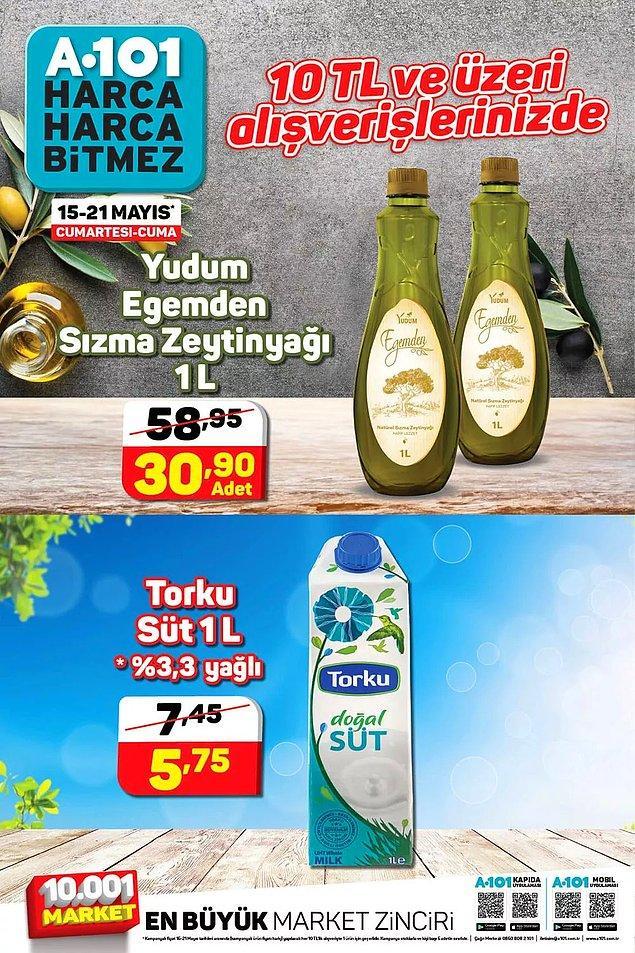10 TL ve üzeri alışverişlerinizde 1 L Yudum Egemden sızma zeytinyağı ya da 1 L Torku süt indirimde.