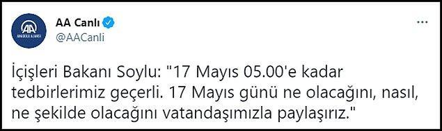 İçişleri Bakanı Süleyman Soylu'nun 'zamanı gelince karar veririz' minvalindeki açıklaması eleştirilere neden olmuştu. 👇