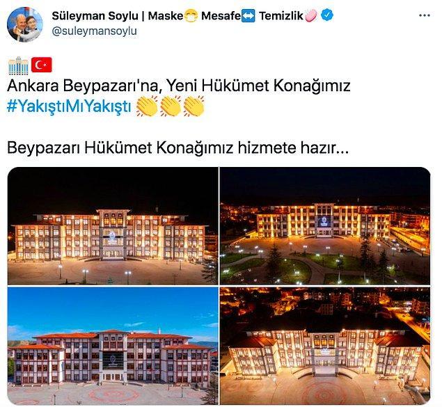 Geçtiğimiz gün İçişleri Bakanı Süleyman Soylu, Twitter hesabından yaklaşık 50 bin nüfusa sahip olan Beypazarı'na yeni hükümet binası yaptıklarını duyurmuştu.