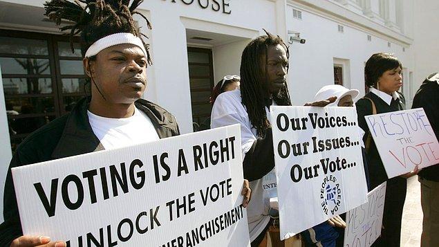 Özgürlükler ülkesi Amerika'da mahkumların oy kullanamaması dünyanın geri kalanı için oldukça şaşırtıcı bir bilgi.