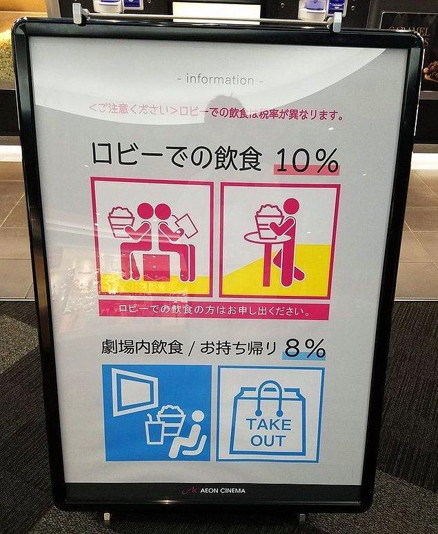 """11. """"Sinema salonlarının önünde oturup filminizi beklerken patlamış mısır yerseniz, bu bir restoranda yemek yemeğe eş sayılır ve aynı miktarda vergi verirsiniz (% 10). Ancak, sinema salonunun içinde patlamış mısır yemek, paket servise eş sayıldığından verdiğiniz vergi azalır (%8)."""""""
