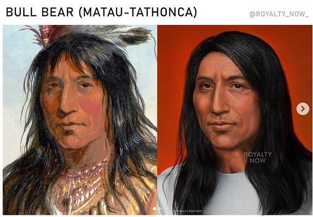 Becca, daha önce odaklanamadığı kültürlerin tarihi figürleri üzerinde de çalıştı. Bunlardan bazıları da Bull Bear olarak bilinen Oglala Sioux kabilesinin şefi olan Matau-Tathonca...