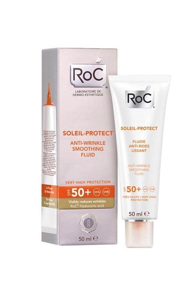 19. Roc marka kırışıklık karşıtı yüz nemlendiricisinin Spf 50 koruması bulunuyor.
