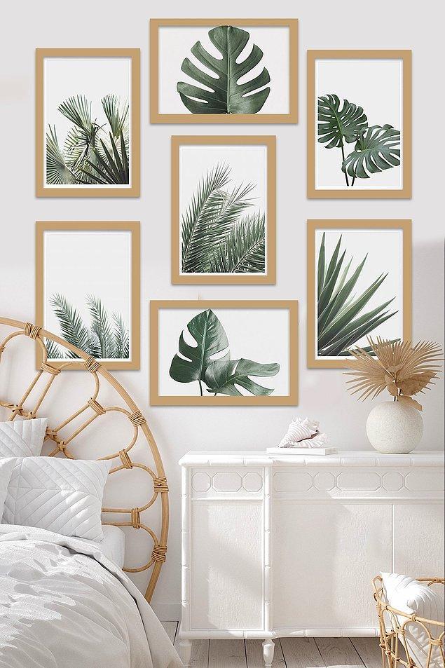 5. Odaları ferahlatan yaprak tablo seti...