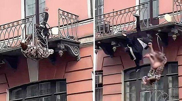 Kavga eden çift yaklaşık 8 metrelik bir yükseklikten kaldırıma düştü.