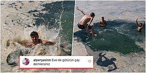 Kocaeli'nde Müsilaja Aldırmadan Denize Giren Kişilerin Görüntüleri İnsanları Şaşırttı