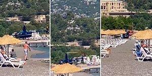 Marmaris'te Halk Plajına Tehlikeli Bir Şekilde İnen Helikopter Tepki Çekti