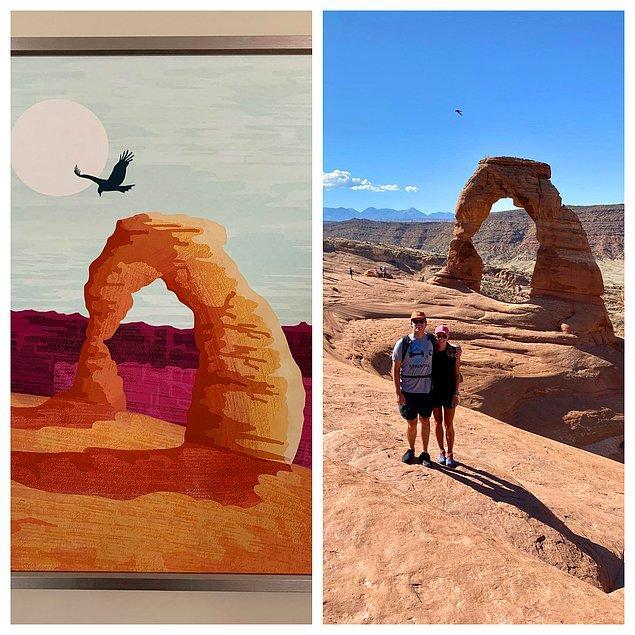 """13. """"Soldaki fotoğrafta bir süredir evimizde bulunan bir tablo var, sağdaki fotoğraf ise geçen hafta sonu çekildi. Kuşun tam doğru yerden uçtuğu mükemmel bir anda çektiğimizi daha yeni fark ettim."""""""