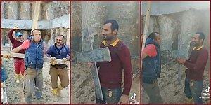 Battal Gazi'nin Zoral Hıristiyan Yapılamaya Çalışıldığı Sahneyi Tekrardan Canlandıran İnşaat İşçileri