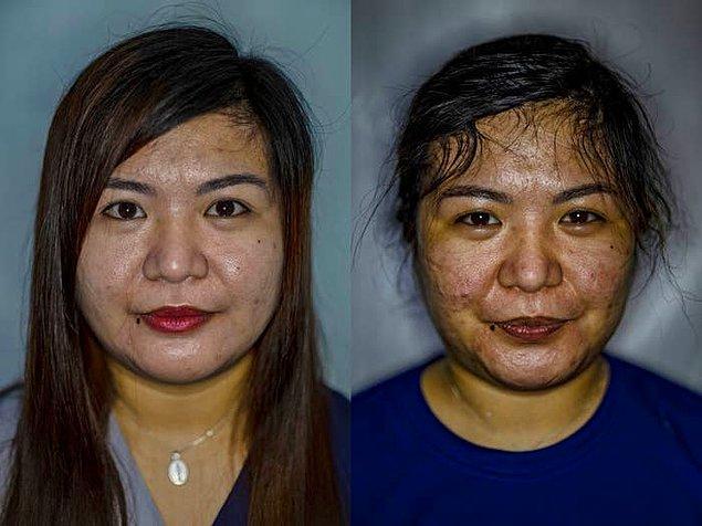 3. Filipinlerdeki bir hemşirenin COVID-19 yoğun bakım servisindeki vardiyasından önce ve sonra çekildiği fotoğraf.