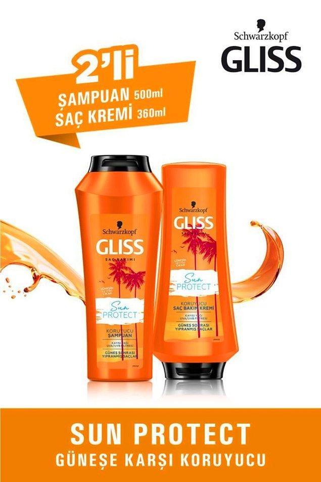 7. Uygun fiyatı ile öne çıkan Gliss'in bu ikilisi de saçlarınızı güneşten korumak için ideal bir set.