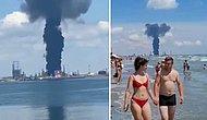 Romanya'da Petrol Rafinerisinin Patladığı Anlar: Dumanlar Gökyüzünü Sardı