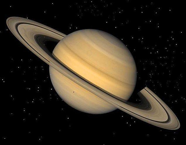 14. Satürn hidrojen ve helyumdan oluşan bir gezegendir, eğer Satürn'ü kendi büyüklüğünde bir su kabına koyarsak sudan hafif olduğu için yüzeye çıkacaktır.