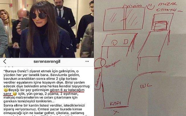 Belki hatırlarsınız. 2018 yılında Seren Serengil de Gülben Ergen'le ilgili tedbir kararını ihlal ettiği için 3 gün hapis yatmıştı. Hatta hapishanenin krokisini bile şu şekilde çizmişti.